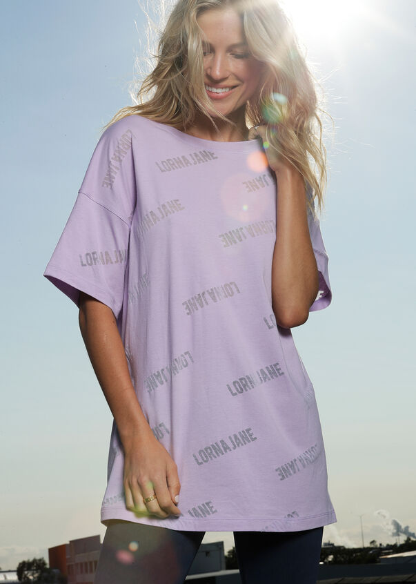 Iconic Oversized Burnout Tee, Light Lavender, hi-res