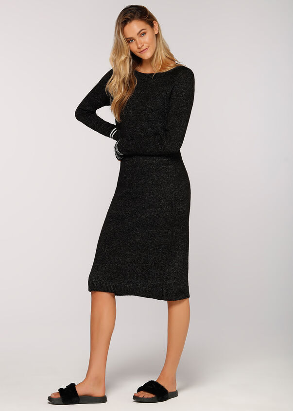 Trackside Long Knit Dress, Black Marl, hi-res