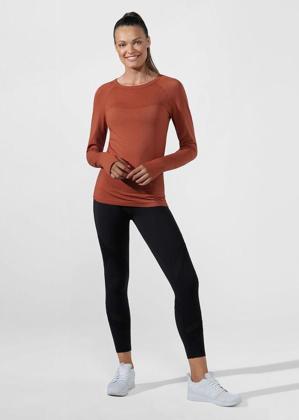 Comfort Seamless Long Sleeve Top, RUST, hi-res