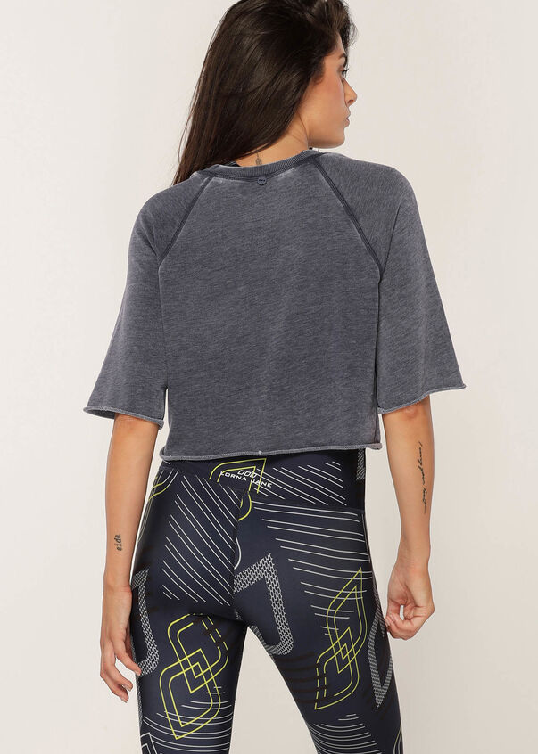 Boxy Cropped Sweat, Washed French Navy, hi-res