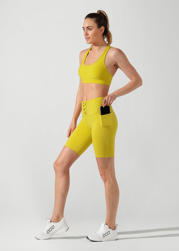 Lace Up Bike Short, Acid Yellow, hi-res