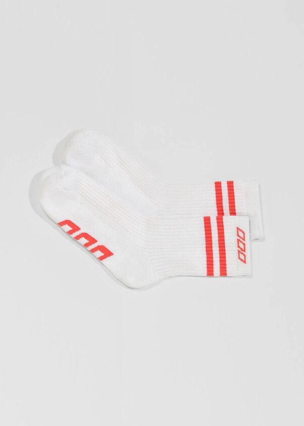 LJ Retro Crew Sock, White/Washed Coral, hi-res