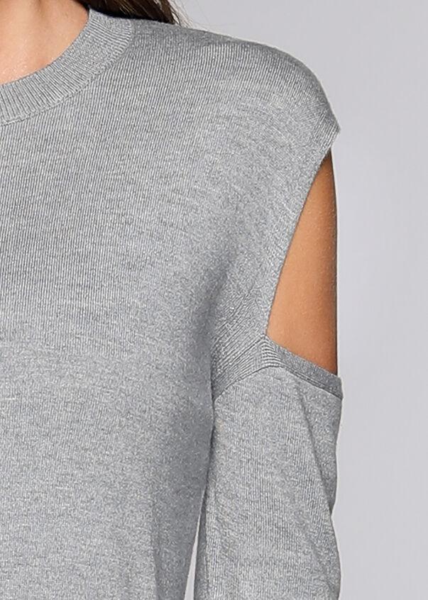Deltoid L/Slv Knit Top, Grey Marl, hi-res