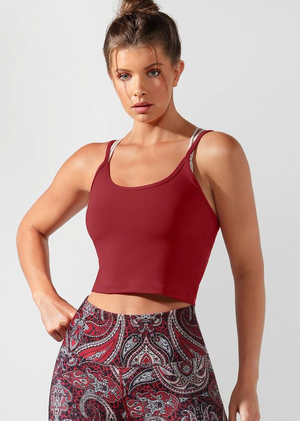 Cherry Cropped Excel Tank, Cherry, hi-res