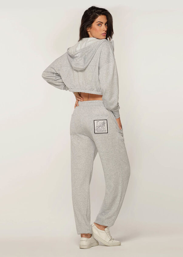 Kourtney Cropped Hoodie, Light Grey Marl, hi-res