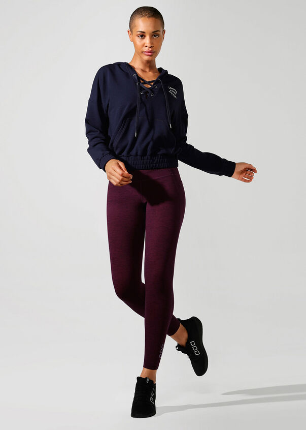 Lace Up Cropped Active Hoodie, French Navy, hi-res