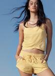 Summer Vibes Luxe Linen Shorts, Mustard, hi-res