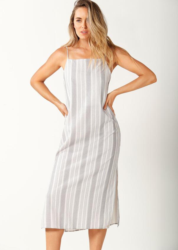 Allday Linen Dress, Pastel Grey/White, hi-res
