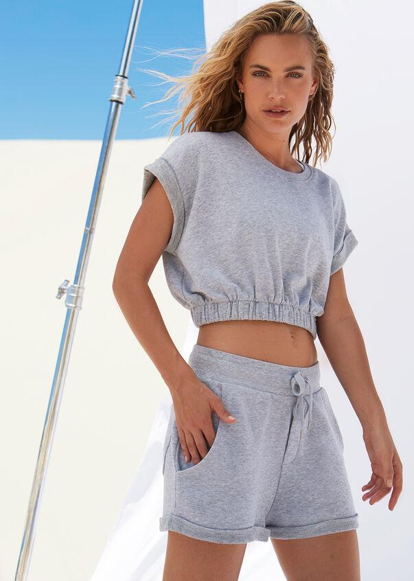 Complete Comfort Cropped Sweat, Grey Marl, hi-res
