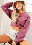 Twist Cropped Sweat, Washed Mauve, hi-res