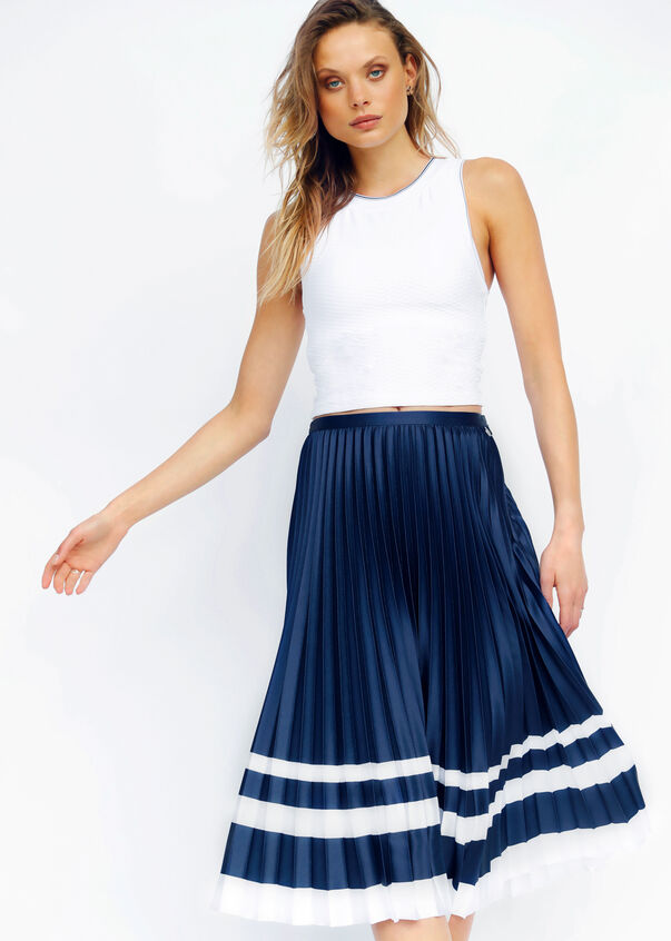 Luxe Yasmin Pleated Skirt, Ink/White, hi-res