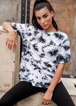 Grunge Oversized T-Shirt, Black Tie Dye, hi-res