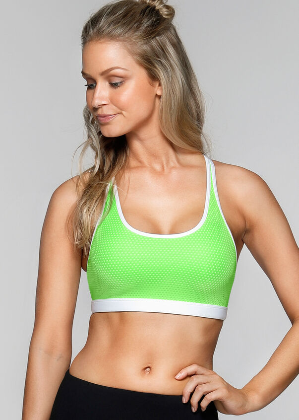 Bailey Sports Bra, Sunbleached Lime/White, hi-res