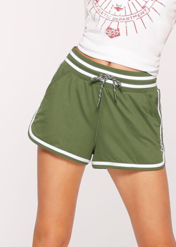Throw Back Active Run Short, Army Green/White, hi-res