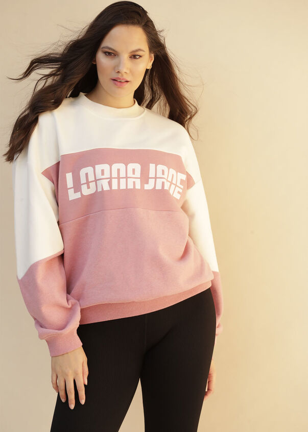 Iconic 1989 Oversized Sweat, Cream / Powdered Pink, hi-res