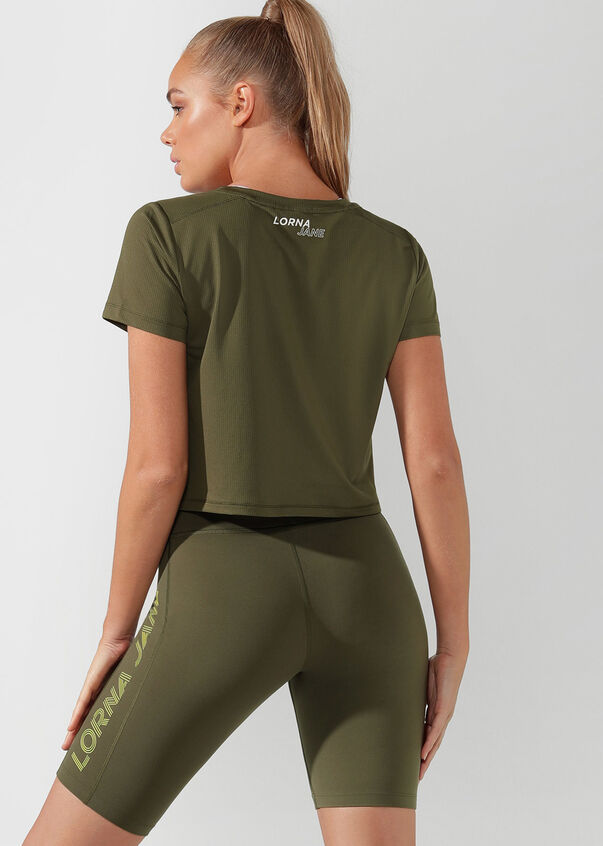 Performance Cropped Active Tee, Pale Olive, hi-res