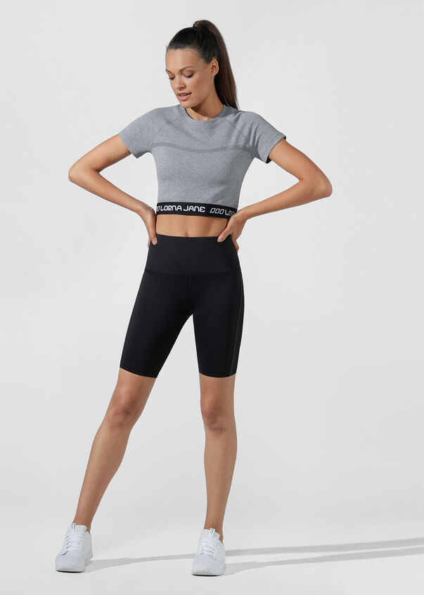 Athletic Cropped Seamless Tee, Mid Grey Marl, hi-res