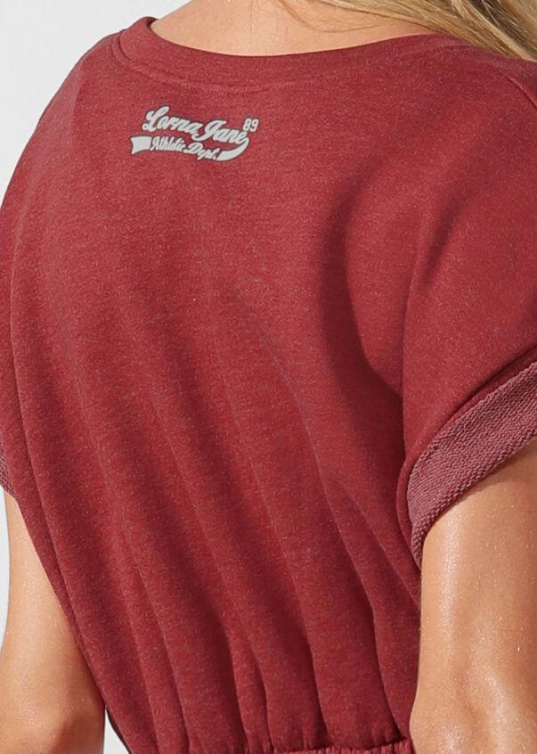 Complete Comfort Cropped Sweat, Dark Red Marl, hi-res