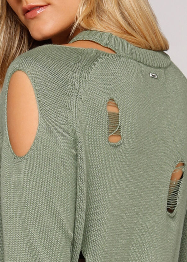 Rebel Distressed Knit, Light Khaki, hi-res