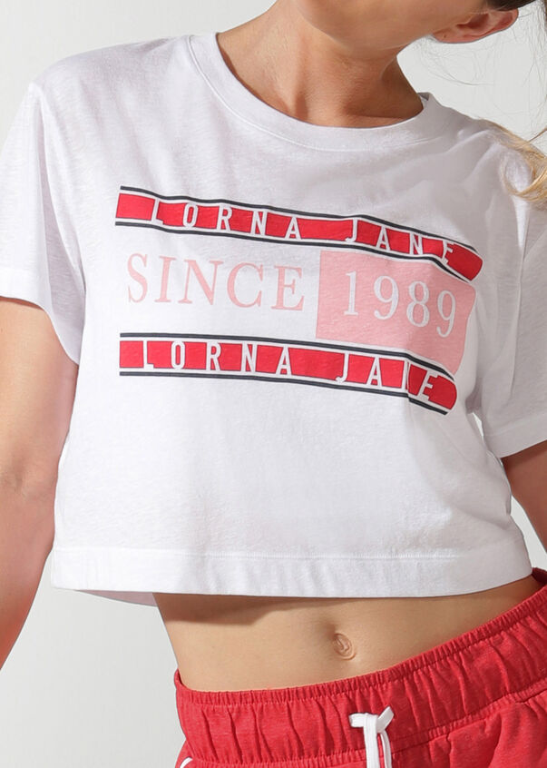 Heritage Cropped Tee, White, hi-res