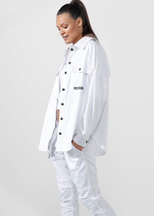 Hype Girl Shacket, White, hi-res