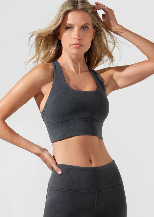 High Coverage Sports Bra, Washed Black, hi-res