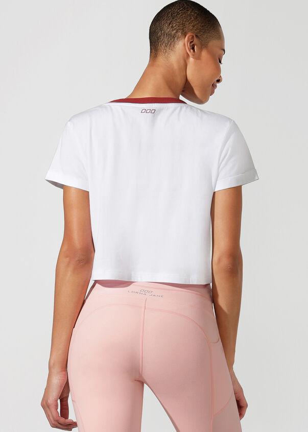 Cali Cropped Short Sleeve Tee, White, hi-res