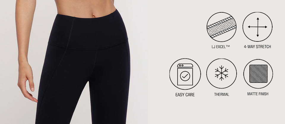 Lorna Jane LJ Thermal Fabric. Matte finish, LJ Excel, 4 way stretch, easy care, thermal, shrink resistant